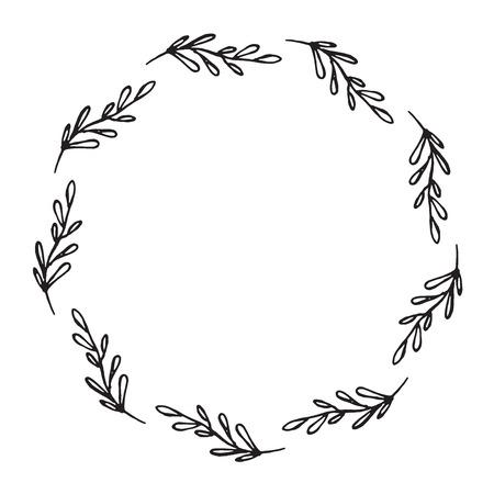 Illustration pour Hand drawn wreath made in vector. Leaves and flowers garlands. Romantic floral design element. - image libre de droit
