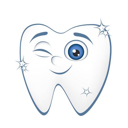 Illustration pour Smiling healthy tooth on a white background - image libre de droit