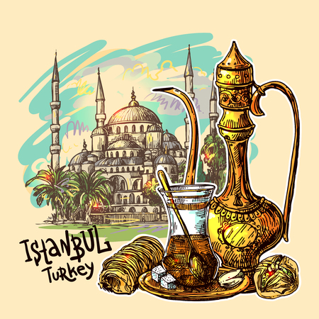 Illustration pour East tea illustration with Istanbul on background. Oriental sweets and teapot. Good for invitations, cards, postcards - image libre de droit