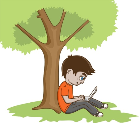 Illustration for Young Man Sitting under the tree and using laptop - Royalty Free Image