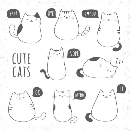 Illustration pour Set of funny cute cats - image libre de droit