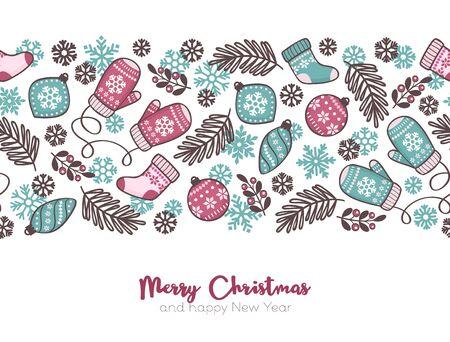 Illustration pour Vector Christmas seamless pattern background, cute Christmas elements with text - image libre de droit