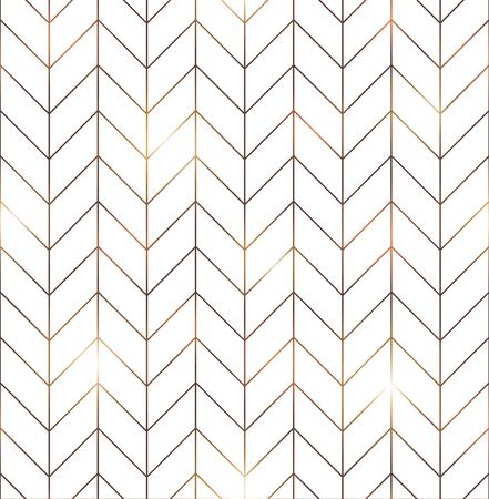 Illustration pour Vector seamless pattern with modern rectangular herringbone tiles. Geometric diagonal texture in white color with golden lines. Vector illustration - image libre de droit