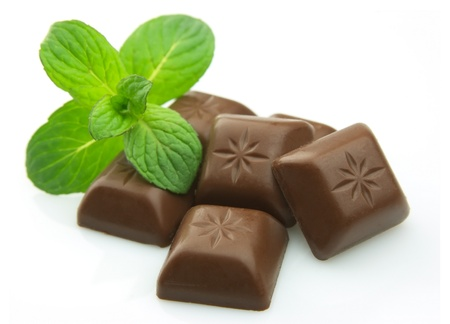 Delicious chocolate bar with mint close up