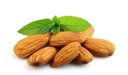 Almonds with mint  close up