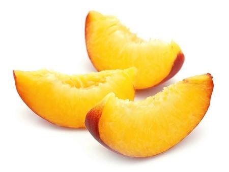 Juicy peach slices closeup