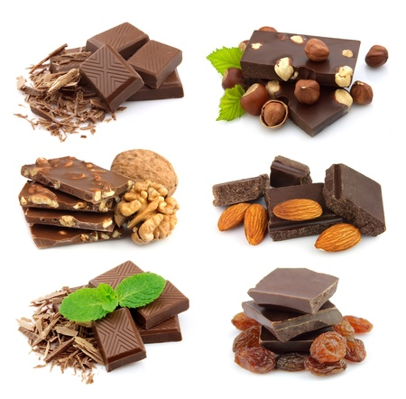 Collage of sweet chocolate on the white