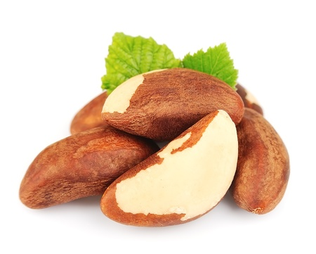 Bertholletia Brazil nuts with leafs on white close up