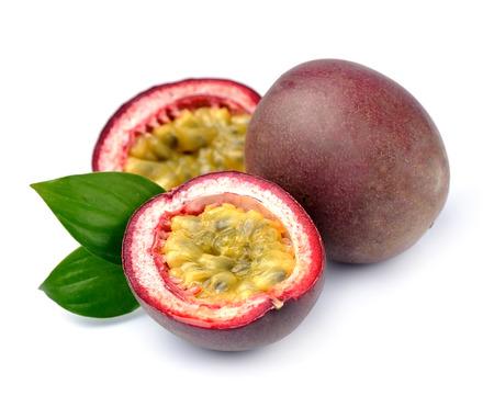 Passion exotic fruits. Maracuya fruits on white background.