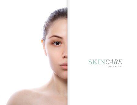 Photo pour Beautiful model girl with perfect fresh clean skin. Half face portrait. - image libre de droit