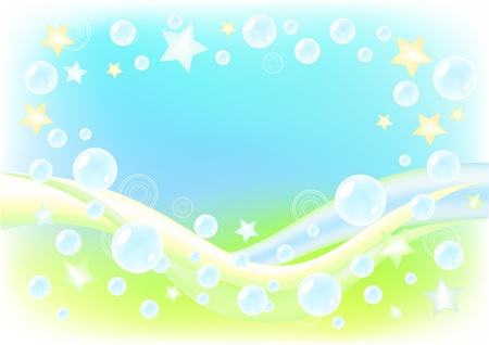 Air background with soap bubbles. Vector illustration.