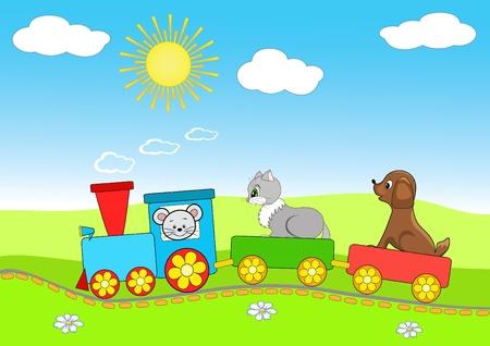 Foto de Baby train. Cheerful vector illustration. - Imagen libre de derechos