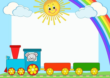 Photo for Baby train. Children photo framework. Vector illustration. - Royalty Free Image