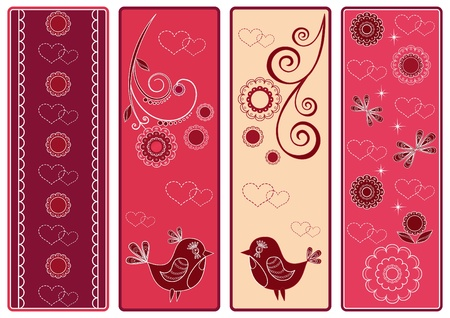 Set Valentine's banners with birds. Vector illustration.