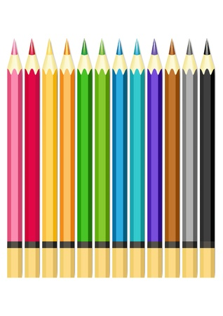 Set of color pencils.