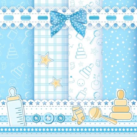 Foto de Set baby patterns  Vector illustration  - Imagen libre de derechos