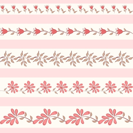 Collection floral borders  Vector illustration