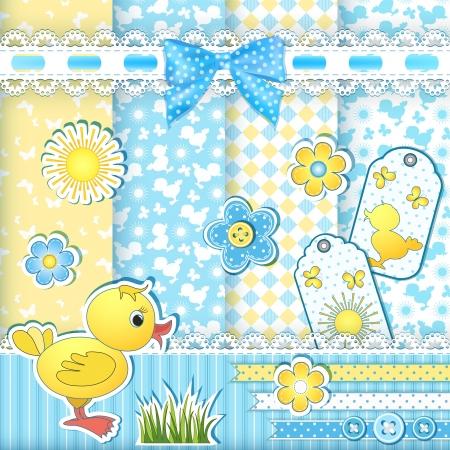 Set baby patterns  Duckling  Vector illustration