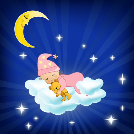 Photo pour Baby sleeping on the cloud  Vector illustration  - image libre de droit