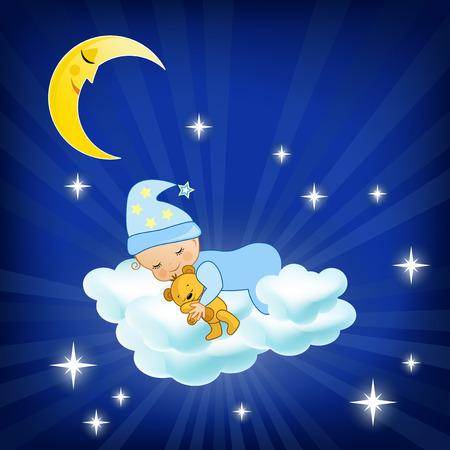 Photo pour Baby sleeping on the cloud  Vector illustration  - image libre de droit