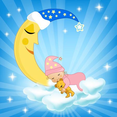Foto de Baby sleeping on the cloud. Vector illustration. - Imagen libre de derechos
