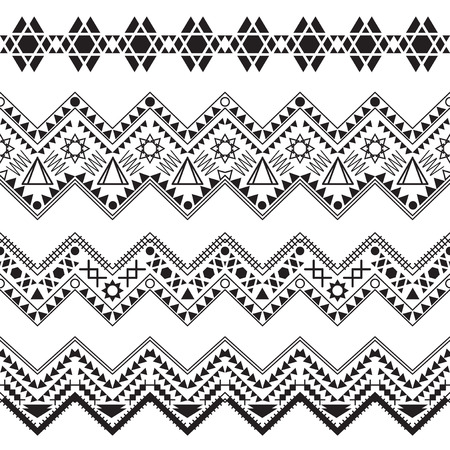 Collection tribal borders. Vector illustration.