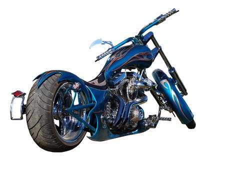 A blue  motorbike