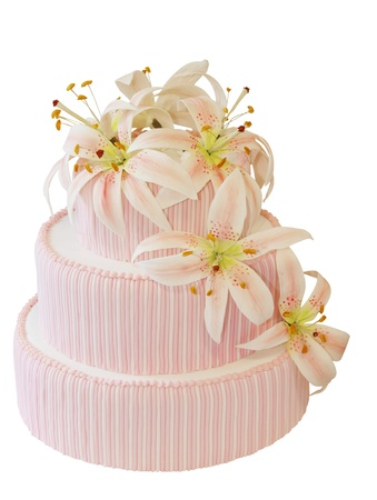 Three Tiered Iced Cake with Icing Orchid Decoration