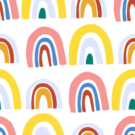 Illustration pour Abstract seamless pattern with doodle rainbows. Hand drawing fantastic colorful rainbow in kids drawing style - image libre de droit