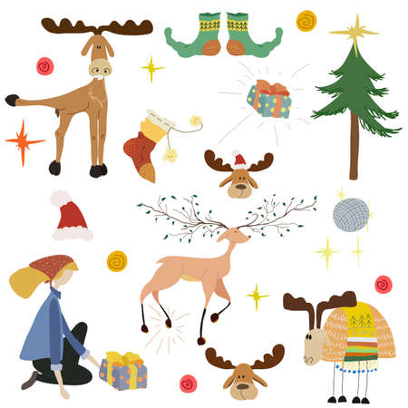 Photo pour Christmas or New Year big collection in flat cartoon style. Set with cute deer, funny lamb, girl with gift, fir tree - image libre de droit