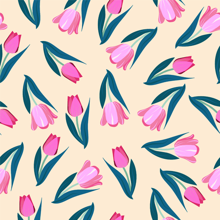 Illustration pour Romantic hand drawn background with tulips. Vintage seamless pattern Tulips spring garden flowers. - image libre de droit