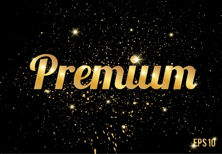 Gold splashes texture or glitters pattern and Premium text on black background. Vector golden splatter luxury effect for design