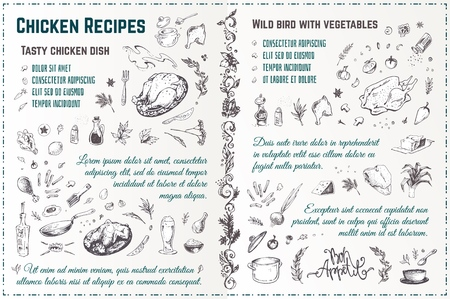 Illustration for Chicken dishes recipe hand drawn sketch. Engraved style doodles of roasted turkey with spices and vegetables. Vintage vector menu design - Royalty Free Image