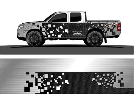 Ilustración de Truck graphic vector. Abstract grunge background design for vehicle vinyl wrap - Imagen libre de derechos
