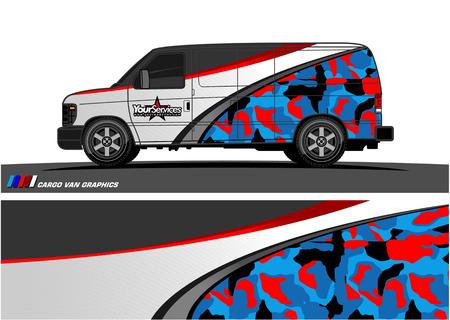 Ilustración de Van Graphic vector. Abstract curved shape with camouflage background - Imagen libre de derechos