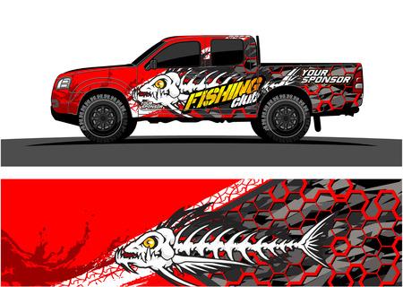 Illustration pour Truck graphic vector. Abstract grunge background design for vehicle vinyl wrap - image libre de droit