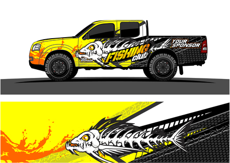 Ilustración de Truck graphic vector. Abstract grunge background design for vehicle vinyl wrap - Imagen libre de derechos