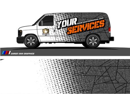 Ilustración de Cargo van graphic vector. abstract grunge background design for vehicle vinyl wrap - Imagen libre de derechos