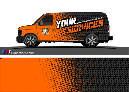 Ilustración de Cargo van graphic vector. abstract grunge background design for vehicle vinyl wrap - Imagen libre de derechos