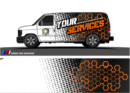Ilustración de Cargo van graphic vector abstract grunge background design for vehicle vinyl wrap. - Imagen libre de derechos