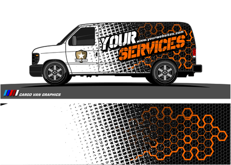 Illustration for Cargo van graphic vector. abstract grunge background design for vehicle vinyl wrap - Royalty Free Image