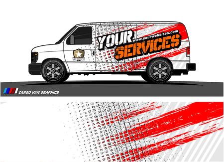 Ilustración de Cargo van graphic vector abstract grunge background design for vehicle vinyl wrap. - Imagen libre de derechos