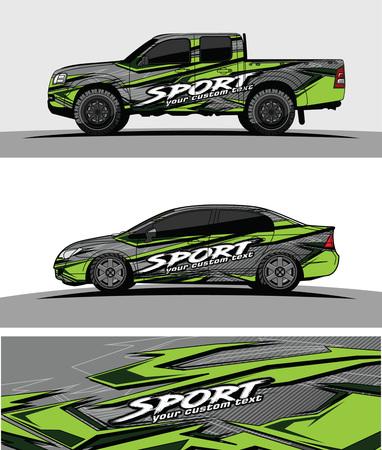 Ilustración de car livery Graphic vector. abstract racing shape design for vehicle vinyl wrap background - Imagen libre de derechos