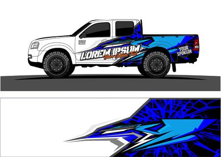 Ilustración de Vehicles livery Graphic vector. Abstract racing shape design for vehicle vinyl wrap background - Imagen libre de derechos
