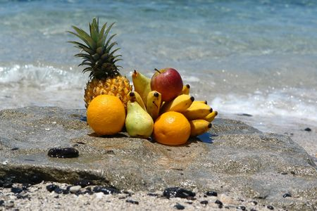 exotic composition of fruits on a beach tropical,