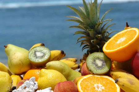 composition of tropical fruits, wholesale plan on bottom tropical blue lagoon