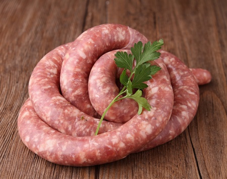 raw sausage and parsley