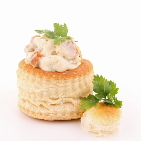 isolated vol au vent on white