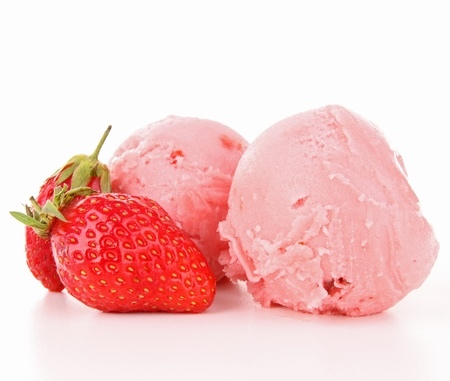 isolated strawberry ice cream