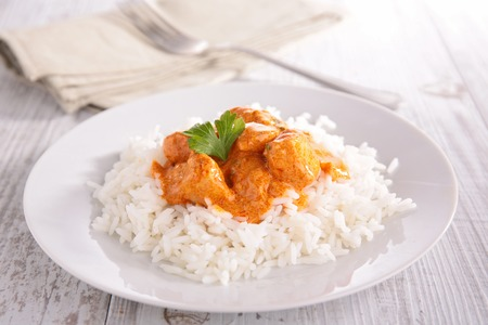 curry chicken and basmati rice